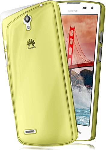 moex Aero Hülle kompatibel mit Huawei Ascend G610 - Hülle aus Silikon, komplett transparent, Klarsicht Handy Schutzhülle Ultra dünn, Handyhülle durchsichtig einfarbig, Gelb