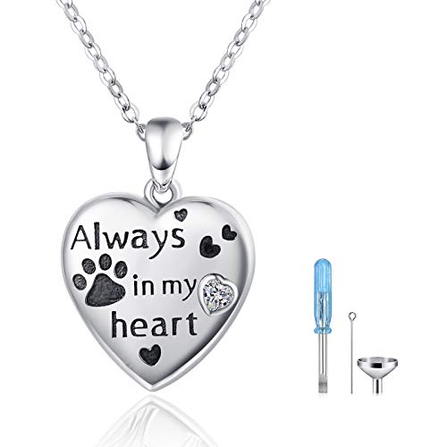 Urn Necklace for Ashes S925 Sterling Silver Ashes Cremation Jewelry' Always in my heart' for Pet Dog Paw Memorial Keepsake Gifts. …