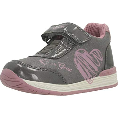 Geox B RISHON GIRL B, Baskets Basses bébé Fille, Gris (Dk Grey/Pink C0952), 23 EU