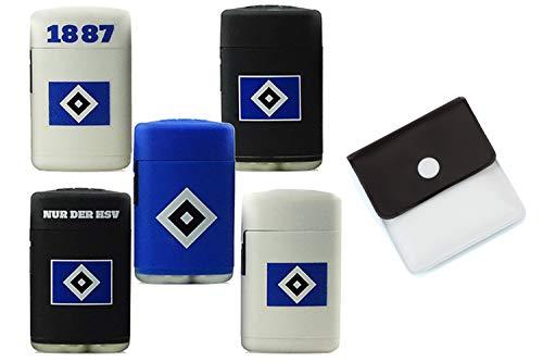 HSV Original Sturmfeuerzeuge Hamburger SV nachfüllbar Blaue Jetflamme Set 3 Stück + Gratis Taschenascher von der Marke SweedZ