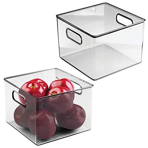 mDesign Plastic Food Storage Container Bin with Handles - for Kitchen, Pantry, Cabinet, Fridge/Freezer - Cube Organizer for Snacks, Produce, Vegetables, Pasta - BPA Free, 2 Pack - Smoke Gray