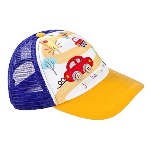 Berretto da baseball per bambini, a righe, in cotone, regolabile, per la primavera e l'estate, per ragazzi e ragazze Cartoni animati, giallo. 42-46