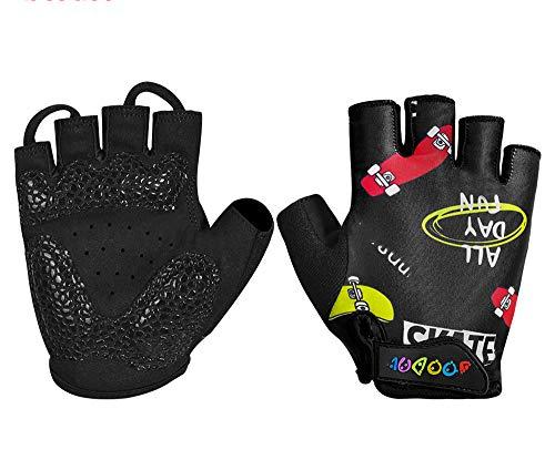 Guantes de Ciclismo de Verano Guantes de Ciclismo para Deportes al Aire Libre Transpirables a Prueba de Golpes de Medio Dedo para niños - Monopatín Negro, XS