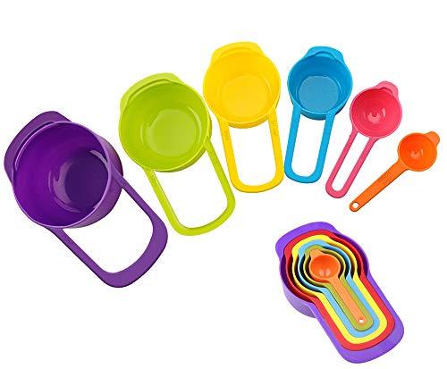 Unisun Messlöffel Set von 6 Kunststoff-Messbechern und Löffeln, mehrfarbig, Küchenmesswerkzeuge für trockene flüssige Zutaten, Backen und Kochen