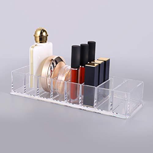 GuKKK Make Up Organizer, Transparente Acryl Schubladen Organizer, Mehrzweck-Kosmetik-Aufbewahrung, für Lidschatten Puder Gesichtspuder Nagellack(10,6x3,8x2,1 Zoll 8 Zelle)