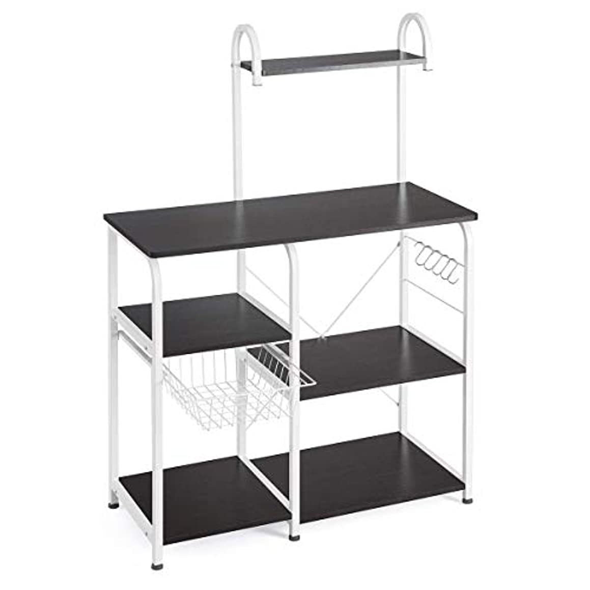 Shmei US Fast Shippment Multipurpose Kitchen Utility Storage Shelf Microwave Stand 4-Tier+3-Tier Shelf for Kitchen Rack Microwave Oven Floor Shelf Storage Cupboard (Black)