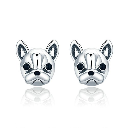 925 Sterling Silver Loyal Partners French BULLDOG Doggy Animal Earrings Dog Jewelry