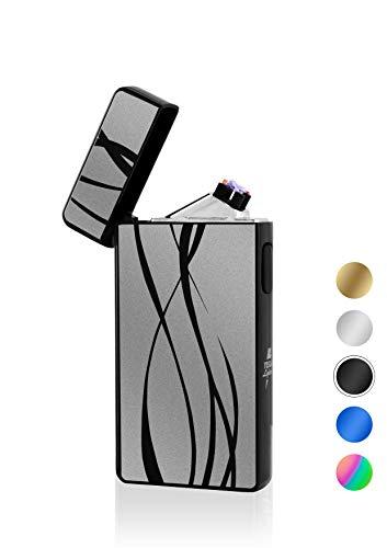 TESLA Lighter T13 Lichtbogen Feuerzeug, Plasma Double-Arc, elektronisch wiederaufladbar, aufladbar mit Strom per USB, ohne Gas und Benzin, mit Ladekabel, in edler Geschenkverpackung, Schwarz Linien