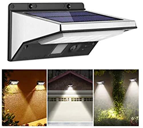 OUSFOT Lampade da Esterno a Energia Solare Impermeabili a 3 Modalità Luci di Sicurezza con Sensore di Movimento Applique da Parete 21 LED Illuminazione in Acciaio Inossidabile per Cortile