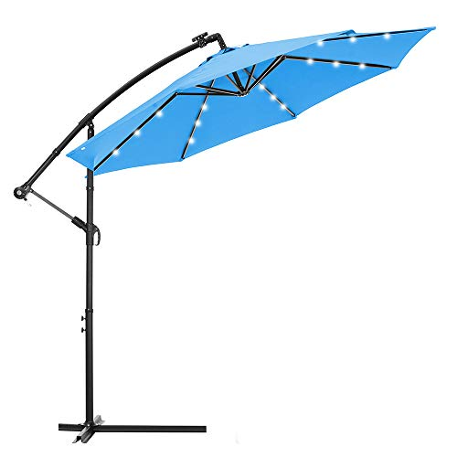 Mndrlin 10 FT Solar LED Patio Outdoor Umbrella, Cantilever Umbrella, Offset Umbrella with 24 LED Lights for Simple Open Decoration, Four Colors for Your Choice. (Blue)