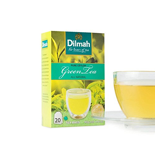 100% Pure Natural CEYLON GREEN TEA with Ginger | cinnamon | jasmine | mint | lemongrass | DILMAH (all natural pure green tea)