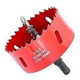 Laiwei, Sega a tazza per trapano bimetallica in acciaio super rapido, con albero, per legno e metallo, 80 mm