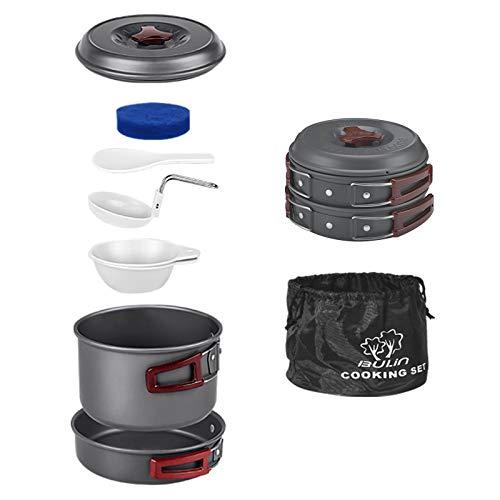 Bulin Juego de utensilios de cocina para camping de 3/5/11/20 piezas, para exteriores, ligeros, de aluminio, plegables, juego de ollas, sartén, para picnic, senderismo