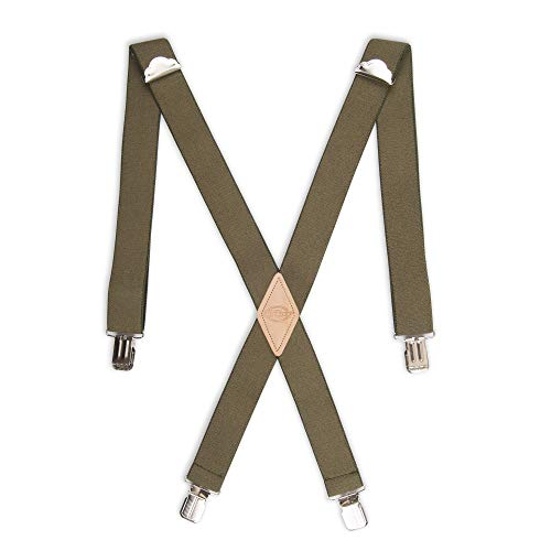 Dickies Men's 1-1/4 Solid Straight Clip Suspender, Olive, One Size