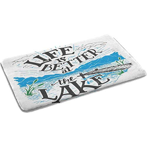 Ahuimin Cabin Decor Anti-Fatigue Soft Absorbent Thick Flannel Bathroom Rugs Life is Better at The Lake Wooden Pier Plants Mountains Outdoors Sketc Memory Foam Shower Mat for Bathroom 24' x 35'Multi