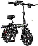 RDJM Bici electrica Bicicletas eléctricas rápidas for Adultos Bicicleta Plegable eléctrico for Adultos, 14' Bicicleta eléctrica/conmuta Ebike Distancia del Viaje 30-180 km, 48V de la batería, 3 Velo