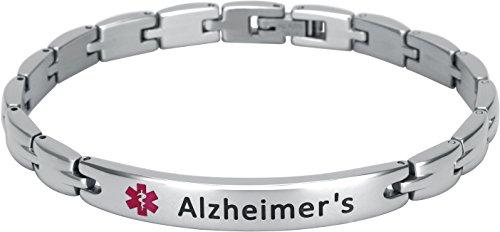 Elegant Surgical Grade Steel Medical Alert ID Bracelet for Men and Women (Women's, Alzheimer's)