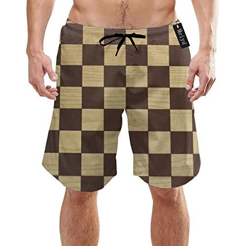Ye Hua Spielbrett zum Spielen von Drafts Checkers Coole Badehosen für Herren Schnelltrocknende 3D-gedruckte lässige Strandbrettshorts mit hawaiianischem Mesh-Futter und Taschen L.