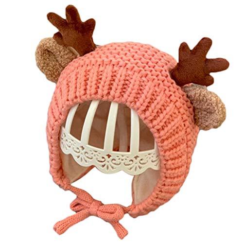 YOKING - Sombrero de protección auditiva para niños y niñas, bonito diseño de ciervo de Navidad y gorro de punto para orejas