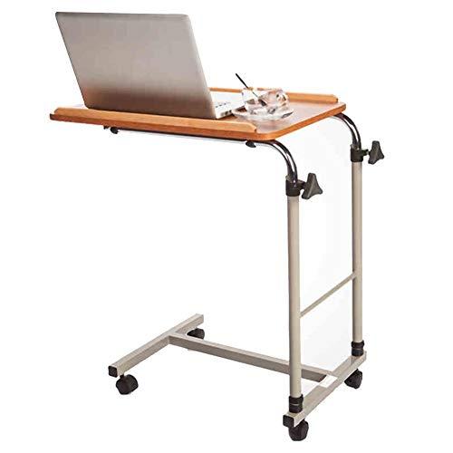 Eenvoudig idee Laptop Stand voor Bureau Multifunctionele Draagbare nachtkastje Ziekenhuis Verpleegtafel Hoogte Verstelbaar met Pulley, Hout Kleur Hoog 70-110Cm (Maat: 60X40Cm), ZND,