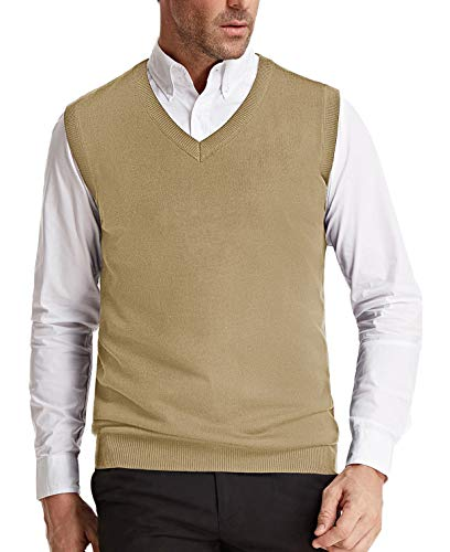 Men's V-Neck Knitting Vest Classic Slim Fit Sleeveless Pullover(Camel, Size M)