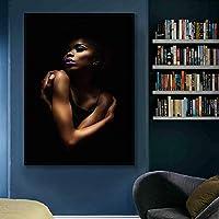 セクシーな黒ヌードアフリカの女性キャンバス絵画ポスターとプリントアート壁の写真リビングルームの入り口の装飾壁画50x80cmフレームレス