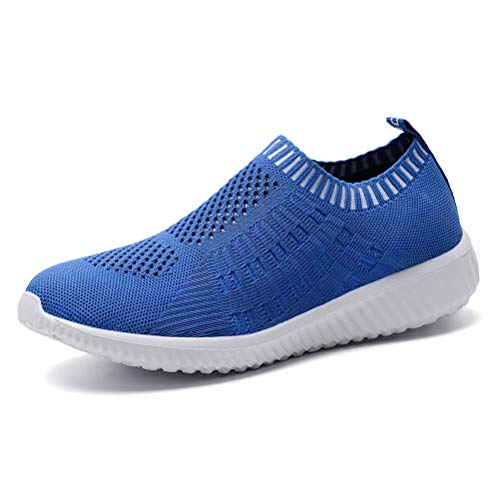 konhill Women's Lightweight Casual Walking Athletic Shoes Breathable Mesh Work Slip-on Sneakers 11 US Blue,43