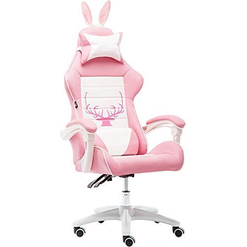 Desk Chairs-T Ergonómica Silla Gaming,Reclinable Silla de Carreras con Reposacabeza Apoyo y Cojín Lumbar, Cuero Sintético PU, para Los Jugadores de PC Gamer
