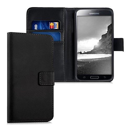 kwmobile Hülle kompatibel mit Samsung Galaxy S5 / S5 Neo - Kunstleder Handyhülle mit Kartenfächern - in Schwarz
