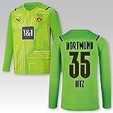 PUMA BVB Torwarttrikot grün Saison 2021/22, Größe:152, Spielername:35 Hitz