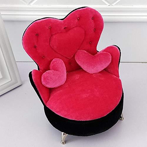 LIUJUAN Joyero Grande para Mujer Caja De Joyería De Sofá De Franela Creativa Caja De Joyería De Sofá con Forma De Corazón Clásica De Moda-307H Rose Red Black Edge