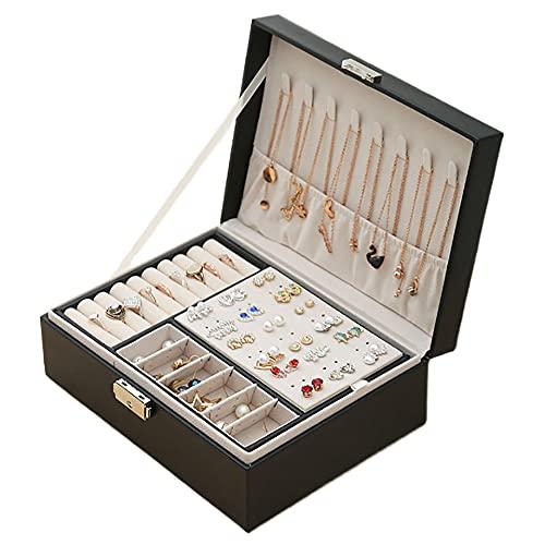 Lacusmall Joyero organizador de piel sintética para joyas, anillos, pendientes, collares, pulseras, caja de regalo de cuero para niñas y mujeres (negro)