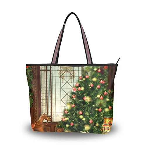 Bolso de compras Bolsos de hombro Foto de archivo Feliz Navidad Bolso de mano para madre Mujeres Niñas Señoras Estudiante Bolsos ligeros con correa