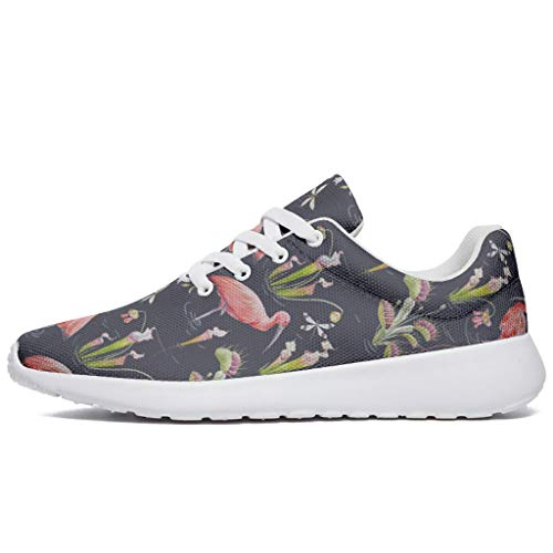 Wraill Damen Herren Laufschuhe Turnschuhe Rosa Flamingo Pflanze Fluss Design Sneakers Schnürer Straßenlaufschuhe Wanderschuhe Laufen Schuhe Sportschuhe White 40