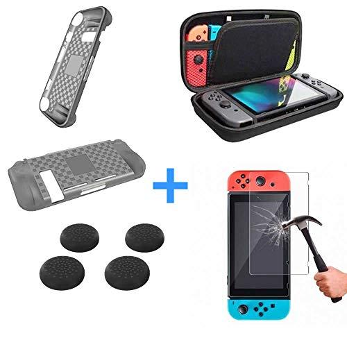 Case Nintend Switch + Película Vidro + 4 Grips + Capa Silicone
