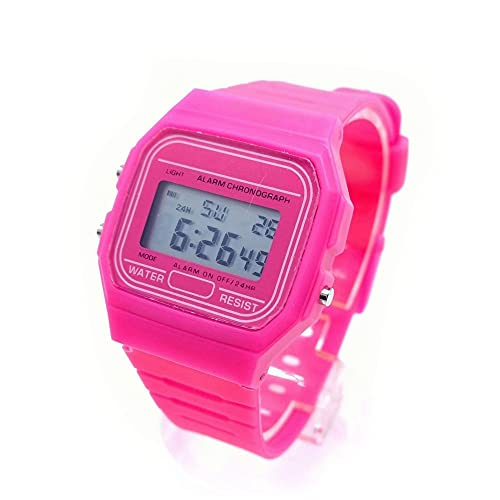 BDM Reloj clásico Casiopea Original para Hombre Mujer, niña o niño de Pulsera Digital con Alarma. Un Regalo Vintage. - Rosa
