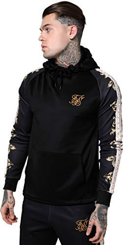 Sik Silk de los Hombres Sudadera con Capucha Raglan Muscle Fit, Negro, XL