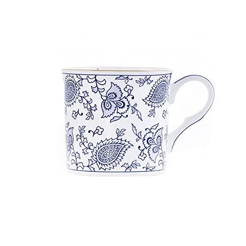 SXXYTCWL Taza de café de diseño en relieve, taza de china de hueso azul y blanco con taza de té de borde de oro, taza de té roja del restaurante del hogar, conveniente para cumpleaños y regalos de vac