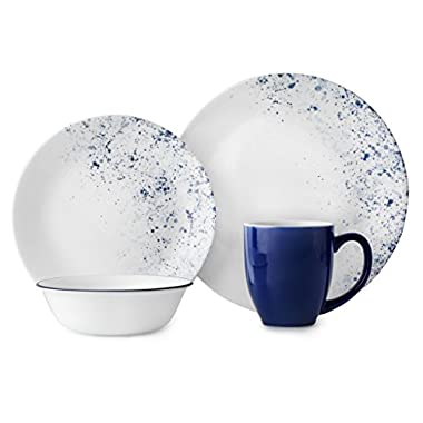 Corelle Round 16-Piece Dinnerware Set, Indigo Speckle, Service for 4