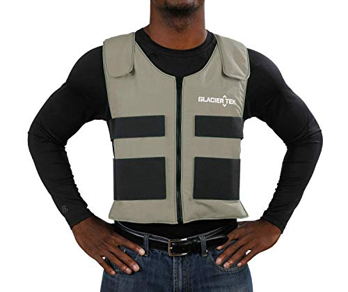 Glacier Tek Sports Cool Vest with Set of 8 Nontoxic Cooling Packs Lgray