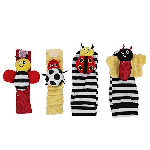 4 piezas de muñequera y calcetines, juguetes de sonajero, sonajero de muñeca para bebé, juego de calcetines con buscador de pies, juguetes de sonajero con patrón de abeja rellena de felpa(Bee)
