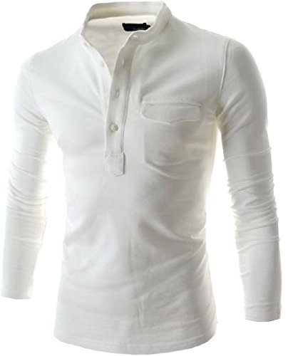 Zimaes Men's Long-Sleeve Solid Slim Casual Buckle T-Shirt Top White L
