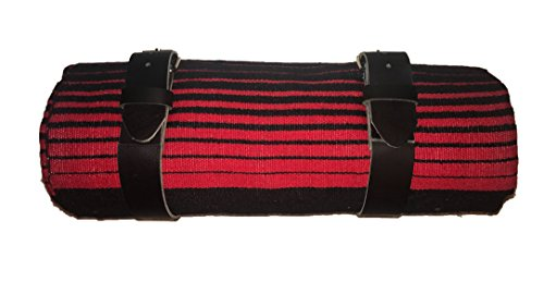 border town industries Red & Black Serape Bed Roll with Leather Strap for Harley Davidson