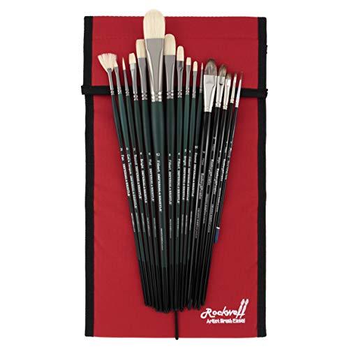 Creative Mark Paint Brush Set for Professional Artist Oil Paints w/ 16 Assorted Paint Brushes & Brush Easel Hamburg Premier, Imperial Bristle and Rhapsody Superb Kolinsky Paint Brushes - [Set of 16]