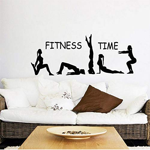 JXFM Yoga combinatie Action Gym creatief fitness patroon gesneden vinyl muursticker 30x82cm