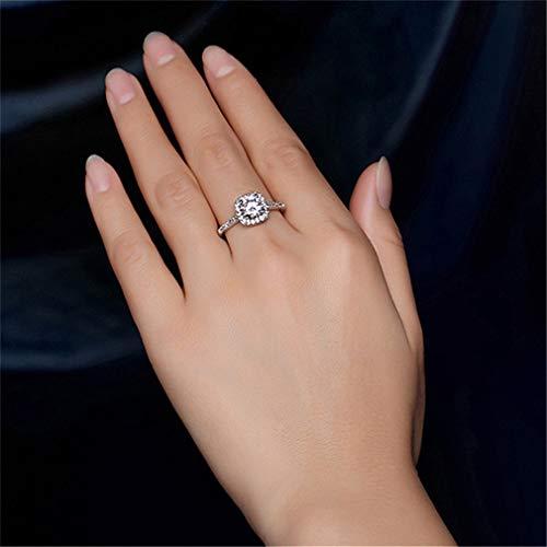 Weisin Anillo de Diamantes de imitación geométrico Cuadrado de Cristal Artificial, Anillos de Compromiso, Anillos de Compromiso, joyería de Aniversario para Mujeres, Aleación, Plateado, 7
