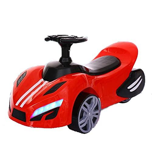 LDIW Patinete De Pedales De Cuatro Ruedas Coche De Entrenamiento De Integración Sensorial Patinete De Pedales De Cuatro Ruedas Fitness Toy Caminante Infantil con Ruedas,Rojo
