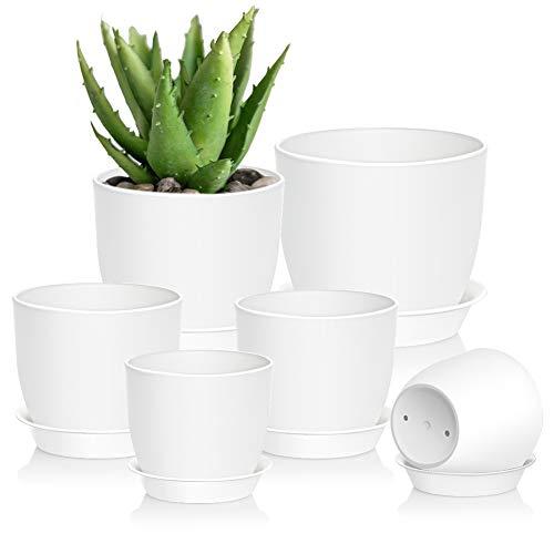 Macetas Plastico, 6 PCS macetas para Plantas de Interior Exterior, Maceta de jardín con Orificio de Drenaje y Bandeja para Flores, Hierbas, Blanco