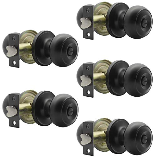 Probrico Flat Ball Bed/Bath Door Knobs Matte Black Finish, Keyless Interior Lockset Privacy Knobs for Bedroom or Bathroom(5 Pack)
