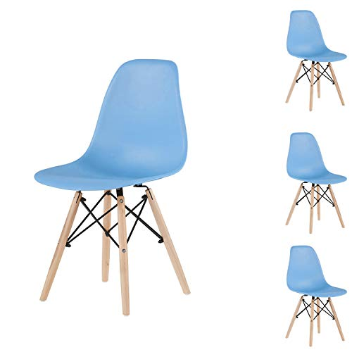 Light Blue Simple Fashion Leisure Plastic Chair Environmental Protection PP Material Thickened seat Surface Solid Wood Leg Dressing Stool Restaurant Outdoor Cafe Chair Set of 4